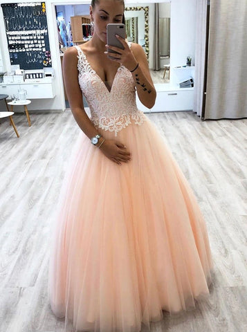 A-line V Neck Tulle Floor Length Prom Dress With Lace Appliques ,FLY094