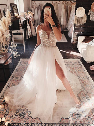 Gorgeous A-line Twinkling Stars Embroidered Prom Wedding Dress With Split ,FLY096