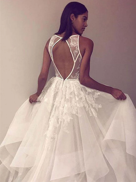 Round Neck Tulle Lace Long Prom Dress Open Back Wedding Dress ,FLY132