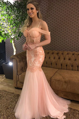 Spring Blush Mermaid Spaghetti Prom Dress Drop-Sleeves Party Gown ,FLY143