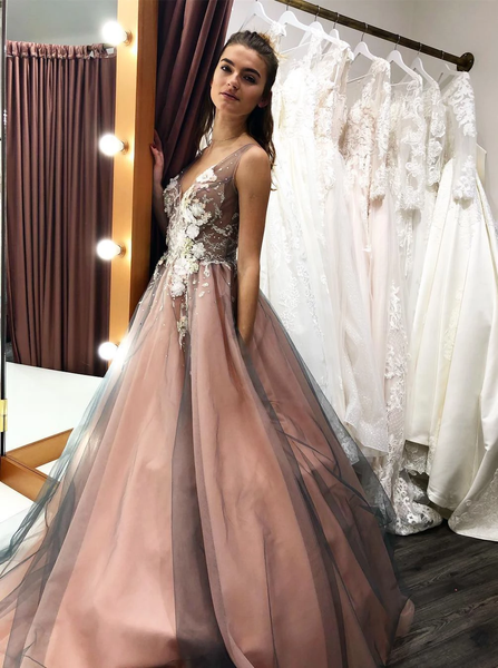 2019 Tulle Long Prom Wedding Dress With Beading Floral Appliques,FLY144