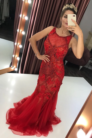 Red Lace Mermaid Beaded Prom Dresses Scoop Illusion Party Dress,FLY145
