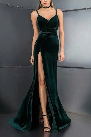 Spaghetti Straps ,V Neck,High Slit ,Sexy , Long Prom,Evening Dresses ,Floor Length Formal Dress, Prom Dress,FLY205