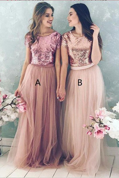 A Line Top Blush Sequin Lovely Two Piece Tulle Round Neck Cheap Bridesmaid Dresses ,FLY259