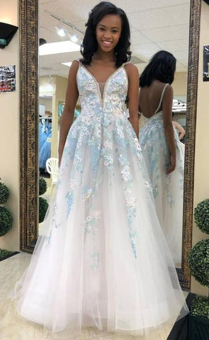V Neck Appliques Prom Dresses,Long Prom Dresses ,FLY420