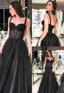 Modest A-Line Straps Long Prom Dress Sleeveless Black Evening Dress,FLY584