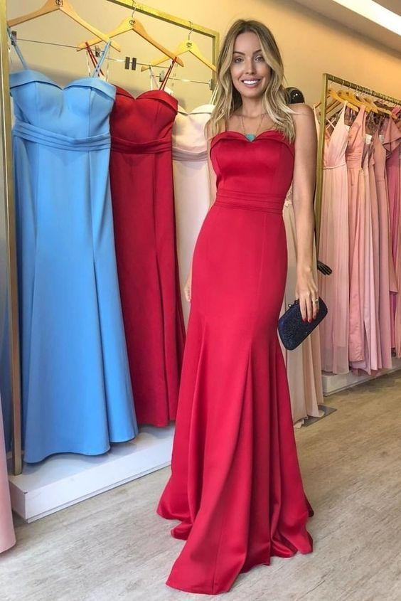 Strapless Straight Red Satin Evening Gown Backless , Long Prom Dress,FLY586