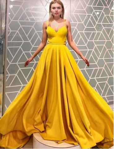 Yellow Prom Dress,A-Line Prom Gown,Satin Prom Dress,Spaghetti Straps Prom Gown,FLY603