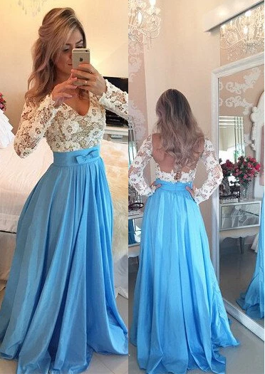 Royal Blue Prom Dresses A-Line/Princess V-Neck Backless Taffeta,FLY706