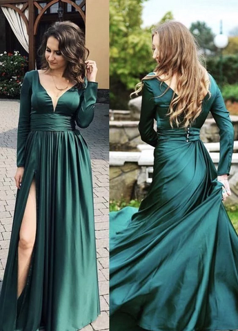 Emerald green prom dresses long sleeves,FLY716