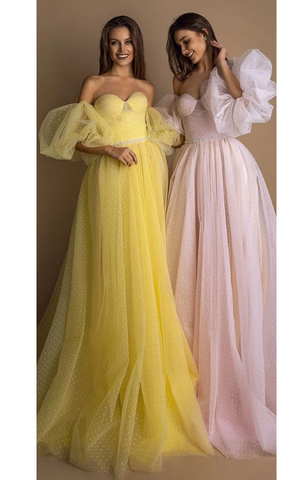 Exquisite Flocking Dot Tulle Sweetheart Neckline Floor-length A-line prom Evening Dresses With Beadings,FLY723