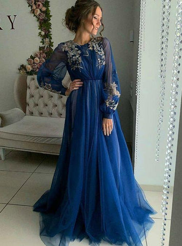 A-Line Blue Tulle Appliques Long Sleeve Long Prom Dress,FLY724