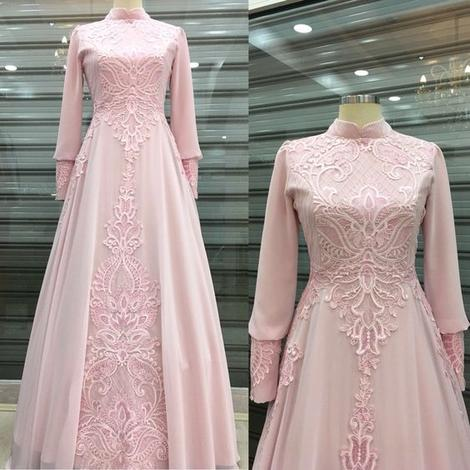 pink long sleeve prom gown,FLY725