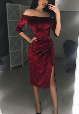 Wine Red Side Slit Elbow Sleeve Fashion Prom Dress,FLY728