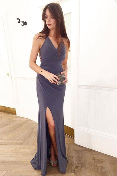 SIMPLE V NECK BACKLESS LONG PROM DRESS EVENING DRESS,FLY729