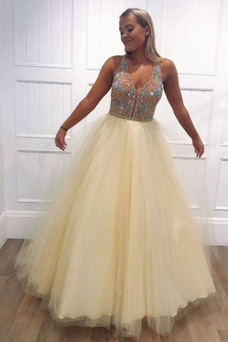Yellow tulle v neck beads long prom dress yellow evening dress,FLY731