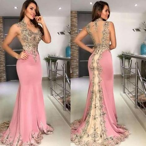 mermaid pink evening dresses long sleeveless lace appliqué beaded elegant evening prom gown 2020 formal dress ,FLY733