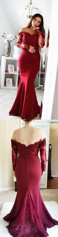 Burgundy Appliques Mermaid Long Prom Dress, Long Sleeve Evening Dress,FLY738
