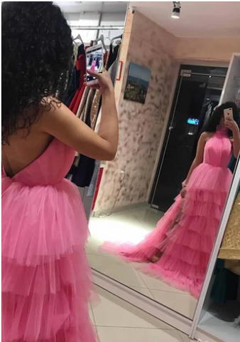 Princess Halter Pink Long Prom Dresses Backless Pageant Dress With Layers,FLY767