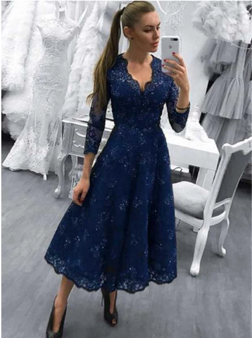 Long Sleeve Navy Blue Evening Dresses For Women Lace Party Dress,FLY773