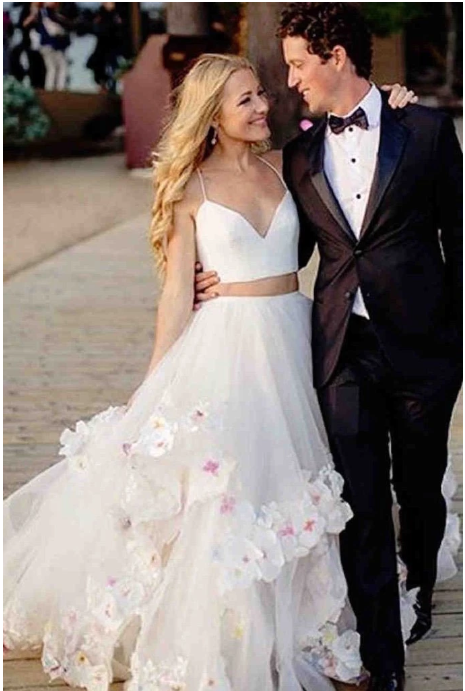 Stylish A-Line Two Piece Spaghetti Straps V-Neck Tulle Long Wedding Dresses with Flowers,FLY776
