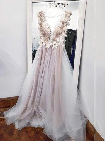 A-line V-neck Appliques Long Prom Dress, Tulle Long Evening Dress ,FLY787