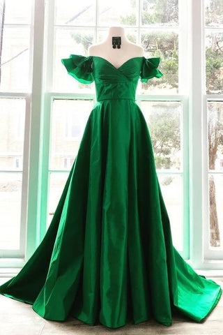 OFF THE SHOULDER GREEN LONG PROM DRESSES WITH BUTTERFLY SLEEVES,FLY857