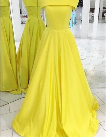 YELLOW LONG BATEAU PROM DRESSES EVENING DRESSES ,FLY860