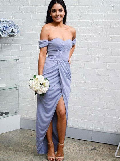 HOT SELL OFF THE SHOULDER SPLIT SIDE PROM DRESSES UNDER 100 BRIDESMAID DRESSES,FLY900