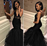 STRAPS SWEETHEART NECKLINE MERMAID BLACK PROM DRESSES WITH APPLIQUES,FLY908
