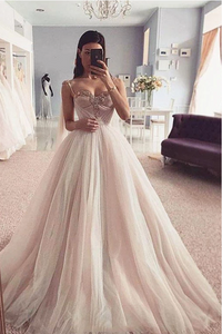 Charming Spaghetti Straps Sweetheart Tulle Prom Dress with Beading, Wedding Dresses,FLY914