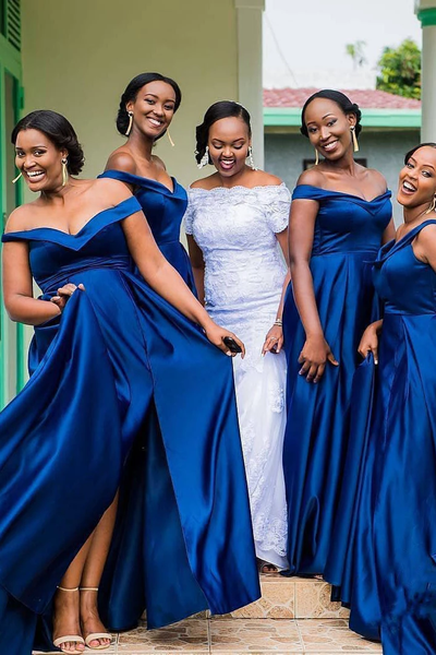 Off the Shoulder Royal Blue Long Bridesmaid Dress with Slit,FLY919