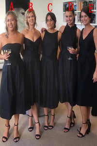 Black Short Bridesmaid Dress,Little Black Dress,FLY920