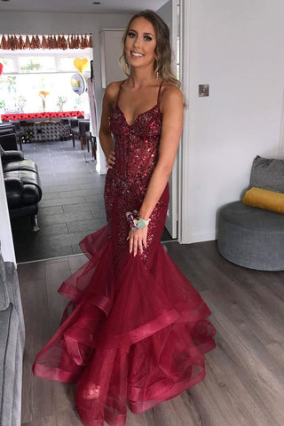 Gorgeous V Neck Mermaid Burgundy Tulle Beaded Long Prom Dress with Ruffles,FLY926