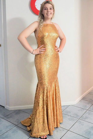Elegant Mermaid Gold Long Prom Dress with Criss Cross Back and TrainFLY931