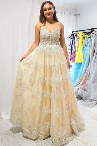 Elegant A-Line Straps Champagne Long Lace Prom Dress with Open Back,FLY932