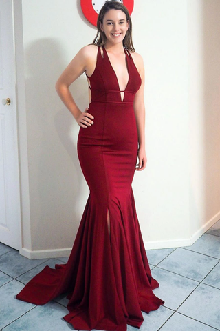 Elegant V Neck Mermaid Burgundy Satin Long Prom Dress with Open Back and Slit,FLY935