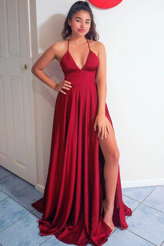 Sexy V Neck Empire Burgundy Satin Long Prom Dress with Slit,FLY936