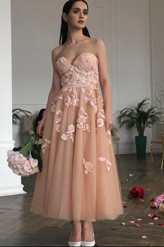 Elegant A-Line Ankle Length Sweetheart Champagne Floral Prom Dress,FLY938