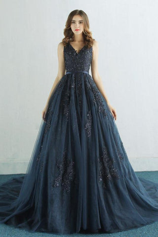 Elegant A Line Navy Blue Long Prom Dress with Lace Appliques,FLY942