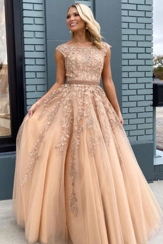 Elegant Lace-up Back Champagne Long Prom Dress with Beading and Lace Appliques,FLY944