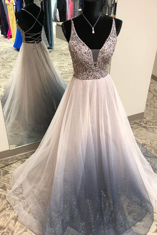 Gorgeous V Neck Silver Beaded Long Prom Dress with Criss Cross Back,FLY950