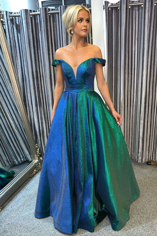 Gorgeous Off the Shoulder Blue and Green Long Prom Dress,FLY956