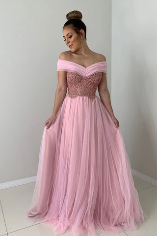 A-line Off the Shoulder Pink Tulle Long Prom Dress with Lace Appliques,FLY957