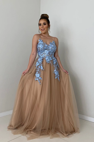 A-Line Spaghetti Straps Tulle Long Prom Dress with Lace Appliques,FLY958