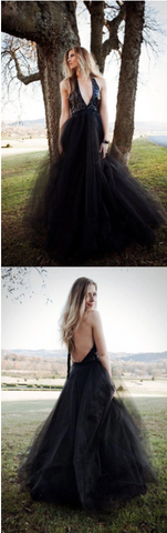 Charming A-Line Halter Black Long Prom Dress With Sequins Evening Dress Tulle Long Evening Dress V-Neck Prom Dress,FLY960