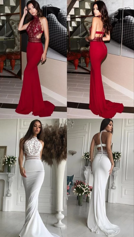 Mermaid High Neck Open Back Sweep Train Dark Red/White Prom Dress with Lace,FLY961