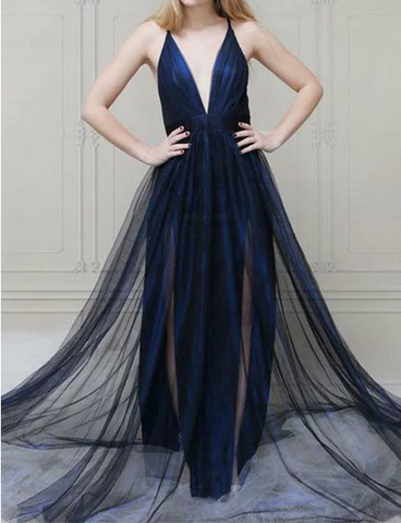 Navy Blue Long Prom Dresses Deep V Neck Evening Dresses For Women,FLY962