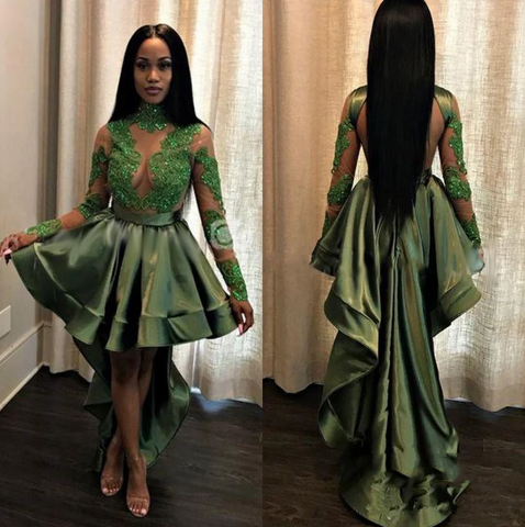 New Arrival A Line Green Backless Long Sleeves High Low Short See Through Prom Dress With Appliques,FLY982