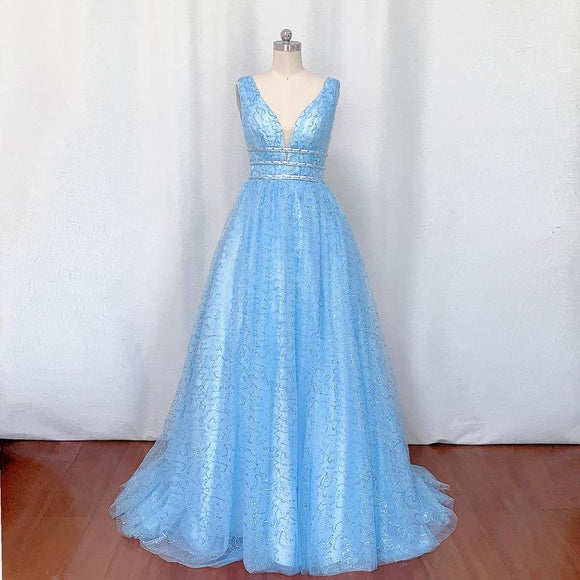 Blue Sequin Tulle Prom Dress 2021 Ball Gown,DR3998